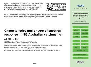 Characteristics and Drivers of Baseflow ... by Van Dijk, A. I. J. M.