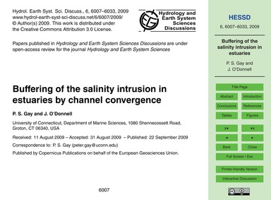 Buffering of the Salinity Intrusion in E... by Gay, P. S.