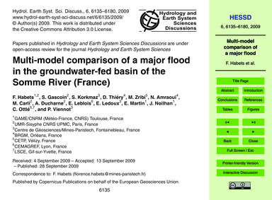 Multi-model Comparison of a Major Flood ... by Habets, F.