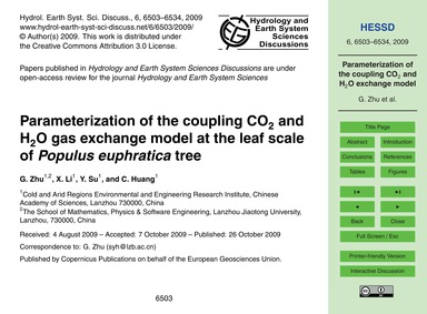 Parameterization of the Coupling Co2 and... by Zhu, G.