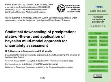 Statistical Downscaling of Precipitation... by Hashmi, M. Z.