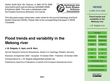 Flood Trends and Variability in the Meko... by Delgado, J. M.