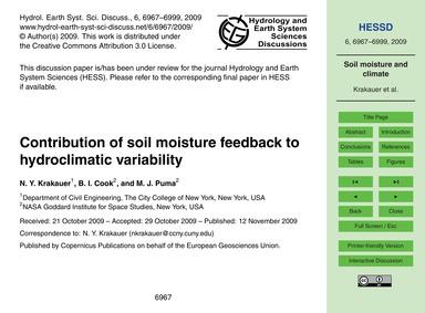Contribution of Soil Moisture Feedback t... by Krakauer, N. Y.