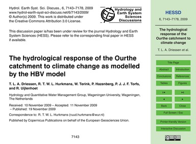 The Hydrological Response of the Ourthe ... by Driessen, T. L. A.