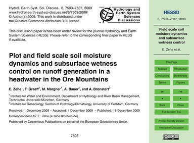 Plot and Field Scale Soil Moisture Dynam... by Zehe, E.
