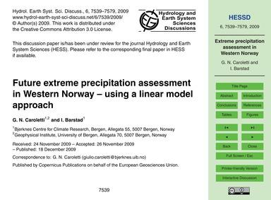 Future Extreme Precipitation Assessment ... by Caroletti, G. N.