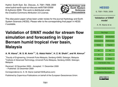 Validation of Swat Model for Stream Flow... by Alansi, A. W.