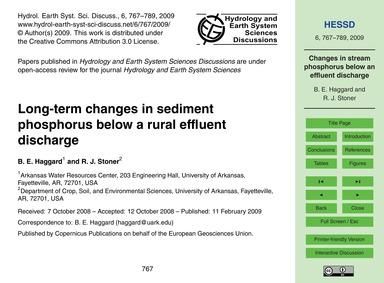 Long-term Changes in Sediment Phosphorus... by Haggard, B. E.