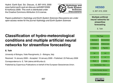 Classification of Hydro-meteorological C... by Toth, E.