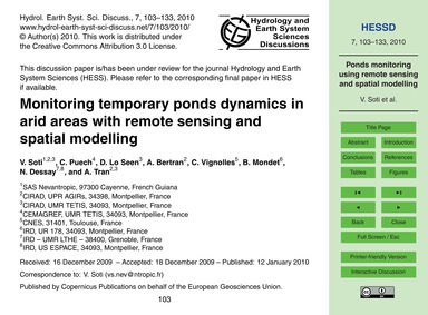 Monitoring Temporary Ponds Dynamics in A... by Soti, V.