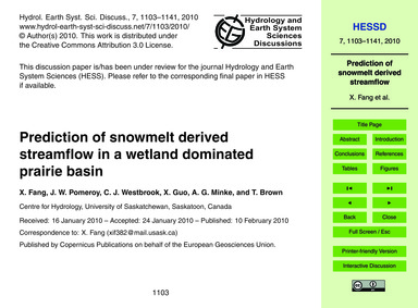 Prediction of Snowmelt Derived Streamflo... by Fang, X.
