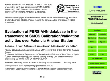 Evaluation of Persiann Database in the F... by Juglea, S.