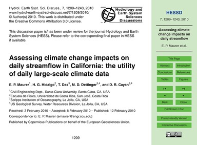 Assessing Climate Change Impacts on Dail... by Maurer, E. P.