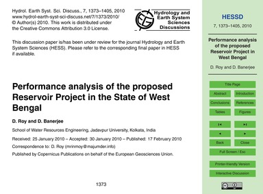 Performance Analysis of the Proposed Res... by Roy, D.