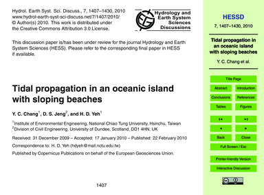 Tidal Propagation in an Oceanic Island w... by Chang, Y. C.