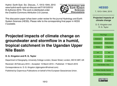 Projected Impacts of Climate Change on G... by Kingston, D. G.