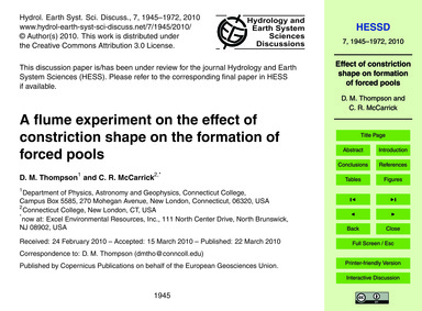 A Flume Experiment on the Effect of Cons... by Thompson, D. M.