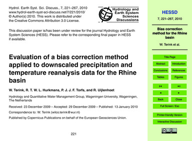 Evaluation of a Bias Correction Method A... by Terink, W.