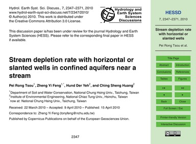 Stream Depletion Rate with Horizontal or... by Pei Rong Tsou