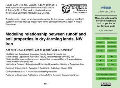Modeling Relationship Between Runoff and... by Vaezi, A. R.