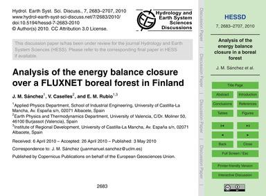 Analysis of the Energy Balance Closure O... by Sánchez, J. M.