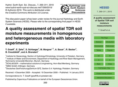 A Quality Assessment of Spatial Tdr Soil... by Graeff, T.