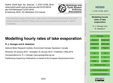 Modelling Hourly Rates of Lake Evaporati... by Granger, R. J.