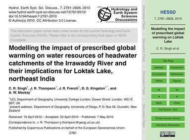 Modelling the Impact of Prescribed Globa... by Singh, C. R.