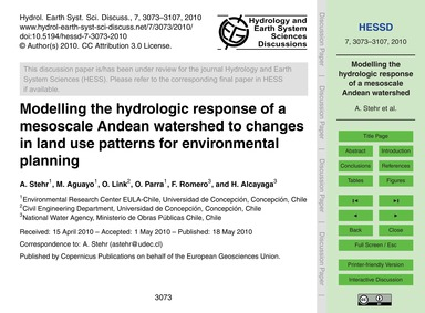 Modelling the Hydrologic Response of a M... by Stehr, A.