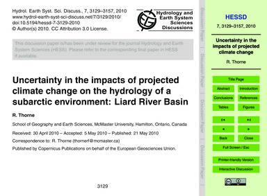 Uncertainty in the Impacts of Projected ... by Thorne, R.