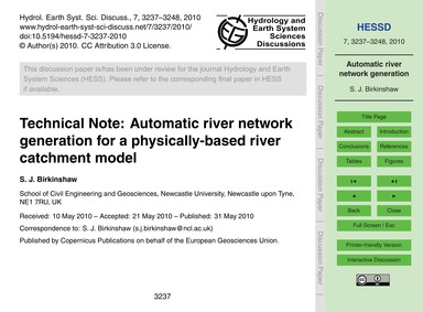 Technical Note: Automatic River Network ... by Birkinshaw, S. J.