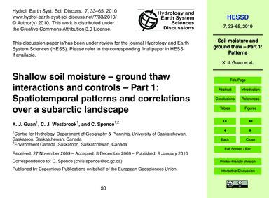Shallow Soil Moisture – Ground Thaw Inte... by Guan, X. J.