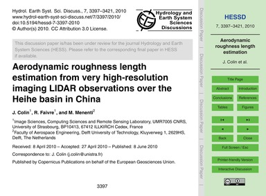 Aerodynamic Roughness Length Estimation ... by Colin, J.