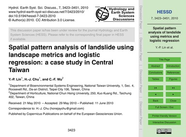 Spatial Pattern Analysis of Landslide Us... by Lin, Y.-p.