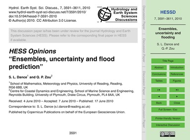 Hess Opinions Ensembles, Uncertainty and... by Dance, S. L.