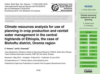 Climate Resources Analysis for Use of Pl... by Yemenu, F.