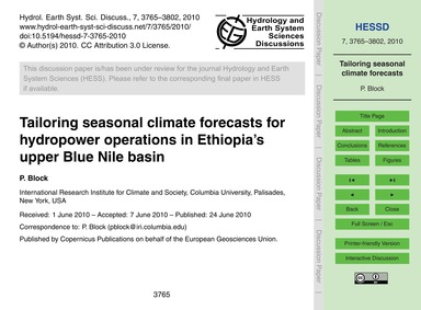 Tailoring Seasonal Climate Forecasts for... by Block, P.