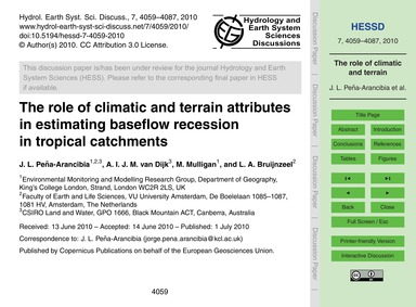 The Role of Climatic and Terrain Attribu... by Peña-arancibia, J. L.