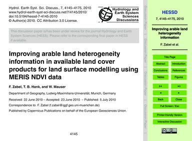 Improving Arable Land Heterogeneity Info... by Zabel, F.