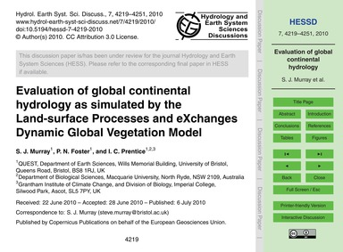 Evaluation of Global Continental Hydrolo... by Murray, S. J.