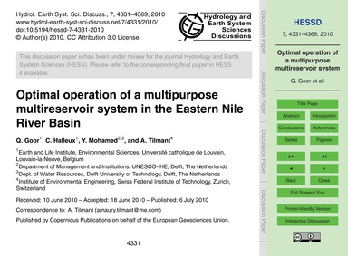 Optimal Operation of a Multipurpose Mult... by Goor, Q.