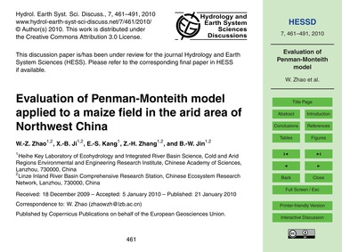 Evaluation of Penman-monteith Model Appl... by Zhao, W.-z.
