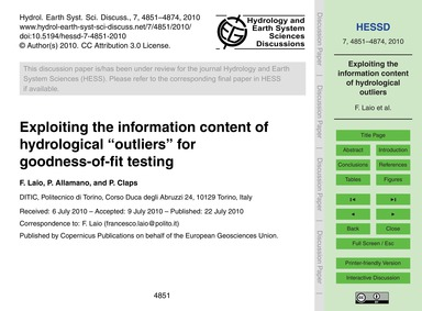 Exploiting the Information Content of Hy... by Laio, F.