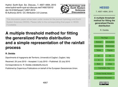 A Multiple Threshold Method for Fitting ... by Deidda, R.