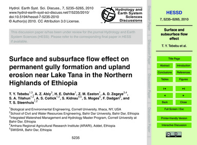 Surface and Subsurface Flow Effect on Pe... by Tebebu, T. Y.