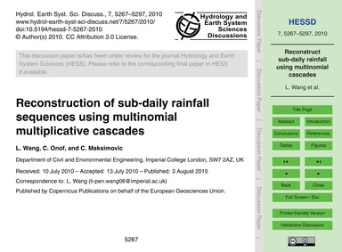Reconstruction of Sub-daily Rainfall Seq... by Wang, L.
