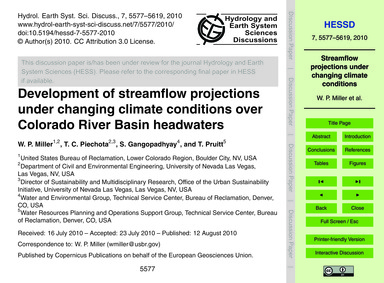 Development of Streamflow Projections Un... by Miller, W. P.