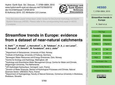 Streamflow Trends in Europe: Evidence fr... by Stahl, K.