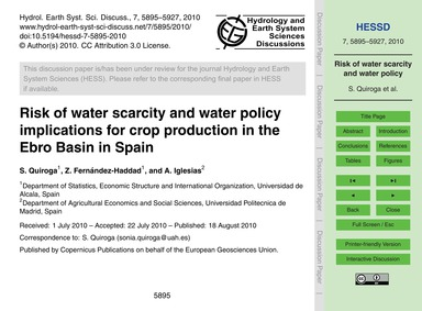 Risk of Water Scarcity and Water Policy ... by Quiroga, S.