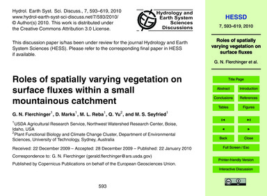 Roles of Spatially Varying Vegetation on... by Flerchinger, G. N.